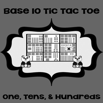 Printable Math Center Tic Tac Toe Base 10 Blocks-Ones,Tens