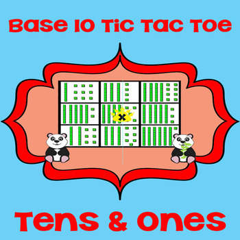Printable Math Center Tic Tac Toe Base 10 Blocks - Tens &