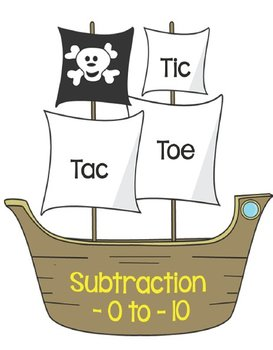 Printable Math Center Tic Tac Toe Subtraction  -0 to -10 F