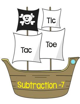 Printable Math Center Tic Tac Toe Subtraction Minus 7 File