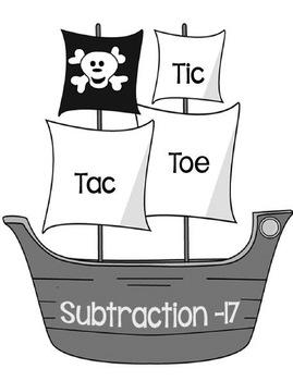 Printable Math Center Tic Tac Toe Subtraction Minus 17 Fil