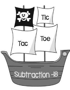 Printable Math Center Tic Tac Toe Subtraction Minus 18 Fil