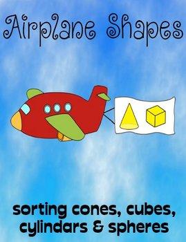Printable Math File Folder Game Airplane Shapes - Cones, C