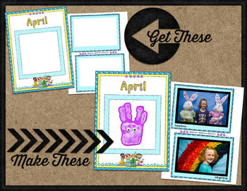 Printable Memory Book Spread {April Rainy Kids}
