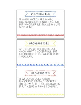 Printable Memory Verse Cards (ESV) Speech From the Book of