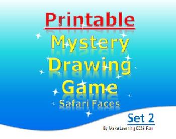 Printable Mystery Drawing Set 2 Safari Faces Elementary Fun Game