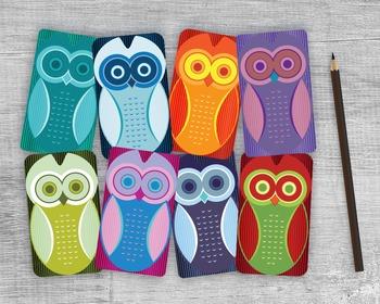 Printable Owl Gift Tags - 8 Handmade Round Edge Owl Favors