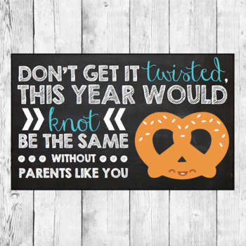 Printable PARENT Pretzel Gift Bag Tag Label