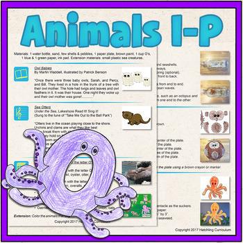 Printable PDF- Explore Animal Alphabet I-P! 8 Preschool Cu