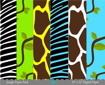 Printable Paper - Jungle Digital Paper Pack