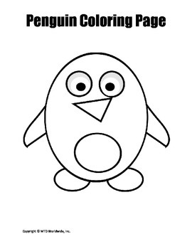 Printable Penguin Coloring Page Worksheet