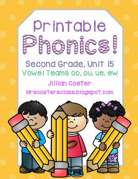 Printable Phonics Pack! 2nd Grade, Unit 15, Vowel Teams! o