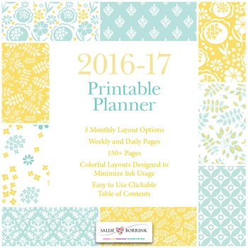 Printable Planner - 2016-17 Academic Year - Aqua and Yellow
