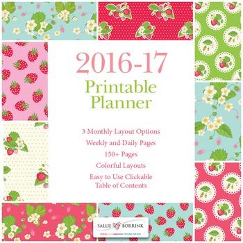 Printable Planner - 2016-17 Academic Year - Strawberries