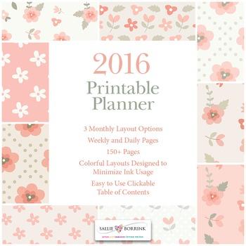 Printable Planner - 2016 - Pink Vintage Flowers