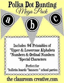 Fun Printable Polka Dot Bunting Mega Pack