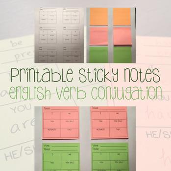 Printable Post Its - Sticky Notes - English Verb Conjugati