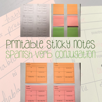 Printable Post Its - Sticky Notes - Spanish Verb Conjugati