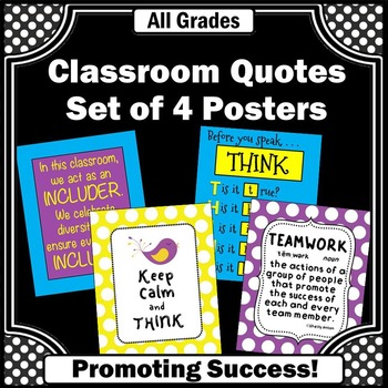 Back to School Posters Set of 4 with Motivational Quotes