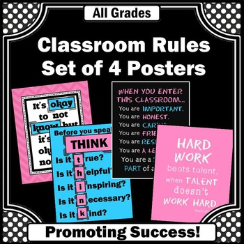 Classroom Rules Set of 4 Posters for Pink & Blue Back to S