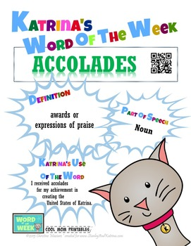 Printable Poster for Word of the Week: ACCOLADES Literacy