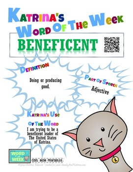 Printable Poster for Word of the Week: BENEFICENT Literacy