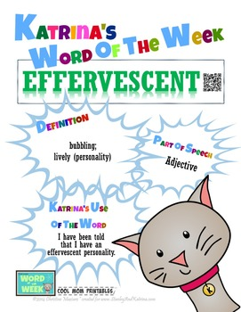 Printable Poster for Word of the Week: EFFERVESCENT Litera