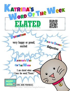 Printable Poster for Word of the Week: ELATED Literacy & V