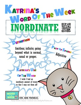 Printable Poster for Word of the Week: INORDINATE Literacy