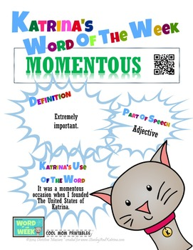 Printable Poster for Word of the Week: MOMENTOUS Literacy