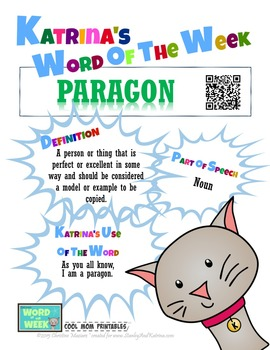 Printable Poster for Word of the Week: PARAGON Literacy &