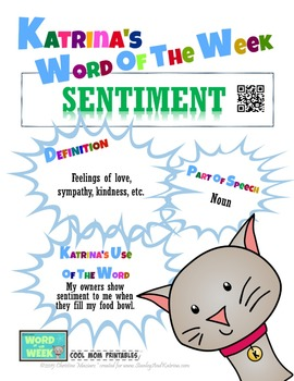 Printable Poster for Word of the Week: SENTIMENT Literacy