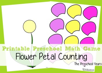 Printable Preschool Flower Petal Counting