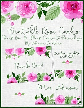 Printable Rose Cards
