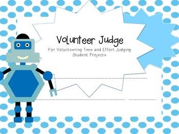 Printable: Science Fair Volunteer Judge Certificates