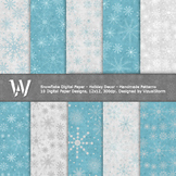 Snowflake Digital Paper - 10 Printable Snowflake Patterns