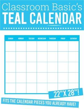 """GIANT Printable Teal Calendar (22""""X28""""!)"""