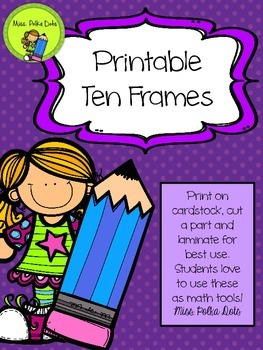 Printable Ten Frames- Bright Colors