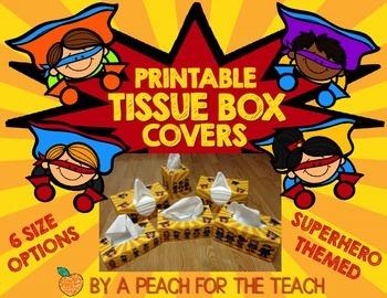 Printable Tissue Box Covers: Superhero Theme (includes six