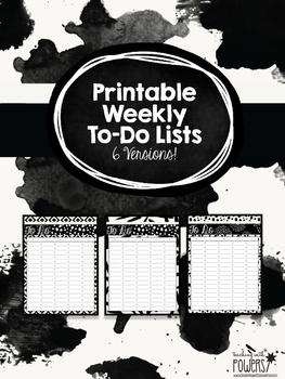 Printable To Do Lists: Black & White