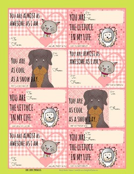 Printable Valentine's Day Cards from the pets - from their
