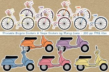 Printable Vespas & Bicycles PNG