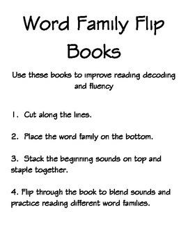 Printable Word Family Flip Books