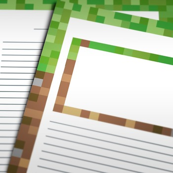 Writing Paper: Video Game Blocks Theme (10 Styles)