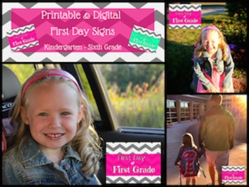 Printable and Digital Back to School Signs for Kindergarte