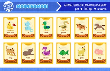 Printable animal flash cards for children