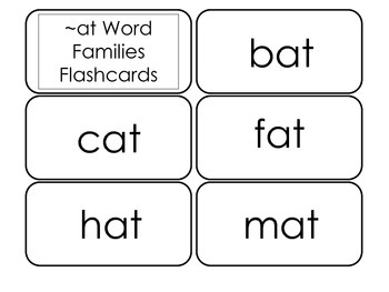 Printable ~at Word Families Flash Cards.  Prints 10 cards.