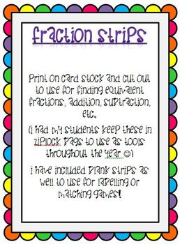 Printable fraction strips