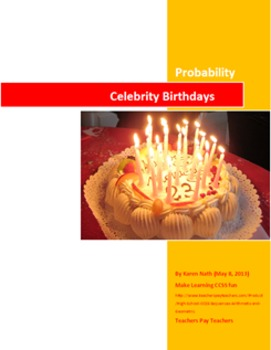 Printable (only) Fun Celebrity Birthday Probability Activity