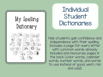 Printable student dictionary word wall book